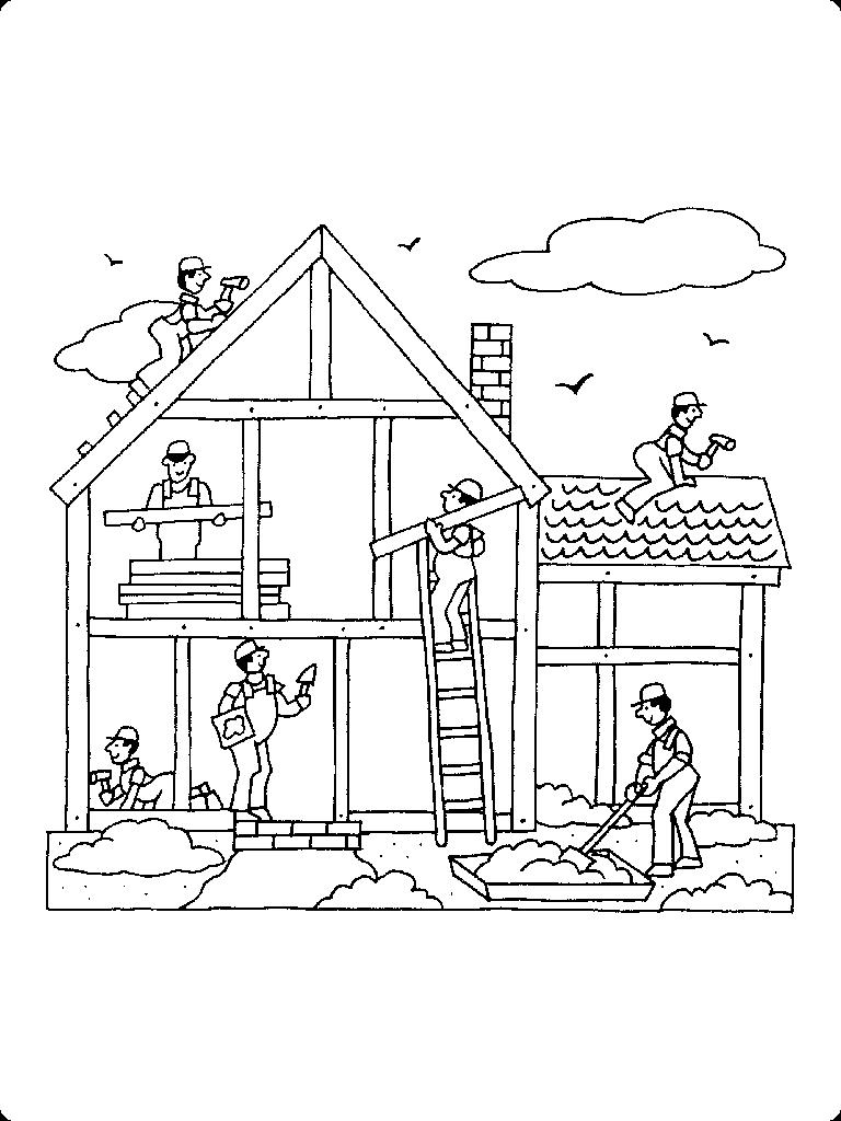 Раскраска для мальчиков домики